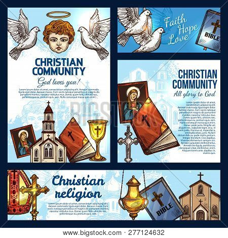 Christian Religion Sketch Posters With Symbols Of Christianity, Catholicism And Orthodoxy. Holy Bibl
