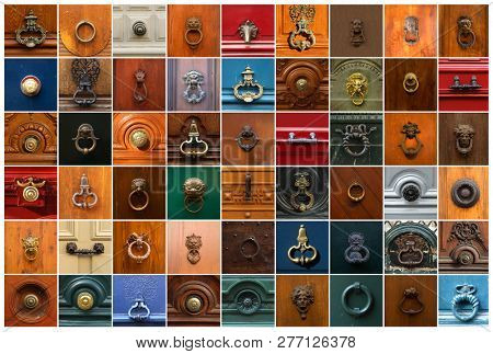 Collage of 54 knockers and handles in different models and colors