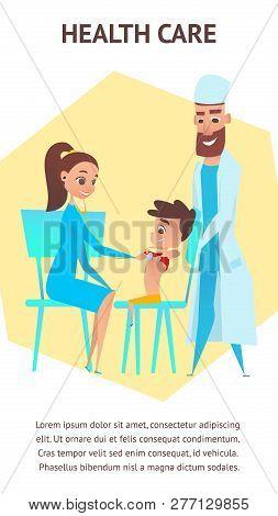 Health Care Illustration Banner. Pediatrician Preschool Children Examination. Doctor And Nurse With