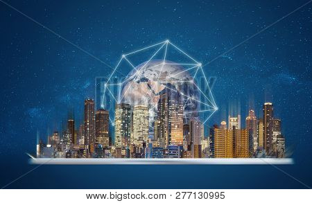 Augmented Reality, Smart Technology And Smart City Technology. Digital Tablet With Building Hologram