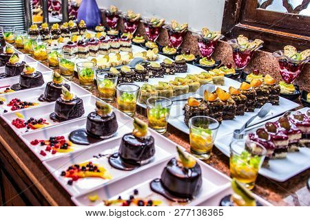 Close Up Delicious Dessert Pastry Cakes Fresh Colourful Sweet Berry Desserts, Beautifull Decorated I