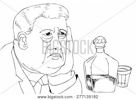 Portrait Of A Man With Vodka. Hand Drawn Illustrations For Coloring
