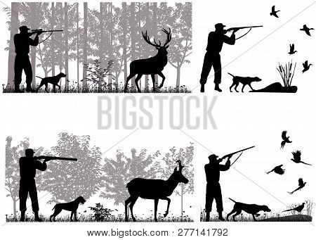 Man With Dog Is Hunting For Deer, Pronghorn, Ducks And Pheasants