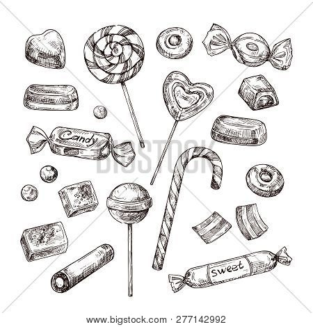 Hand Drawn Candies. Chocolate Candy, Lollipop And Marmalade, Sweets. Vintage Sketch Vector Set Of Lo