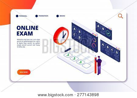 Online Exam Isometric Concept. Internet Questionnaire, Quiz Application For Student Testing. Survey