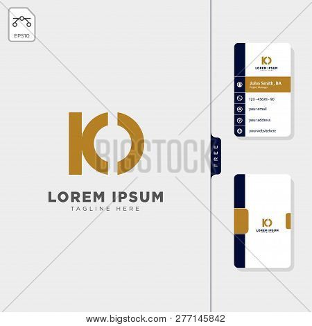 Minimal Io, Ko Initial Logo Template Vector Illustration Free Business Card Design