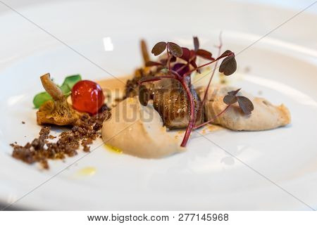 culinary work of art.Foie gras and mushrooms. A feast for the eyes and palate poster