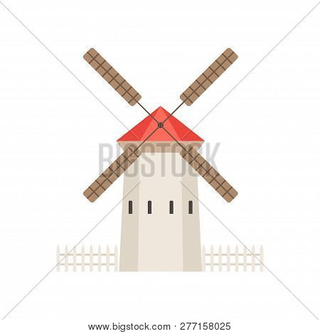 Traditional Rural Windmill Building, Ecological Agricultural Manufacturing, Design Element Of Urban