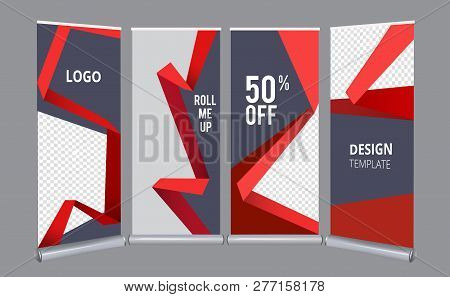 Roll Up Banners. Advertizing Stand Office Mall Presentation Vertical Poster Vector Template. Illustr