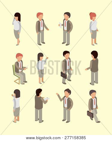 Business People Isometric. Office Workers Managers Directors And Leader Team Professional Service Sp