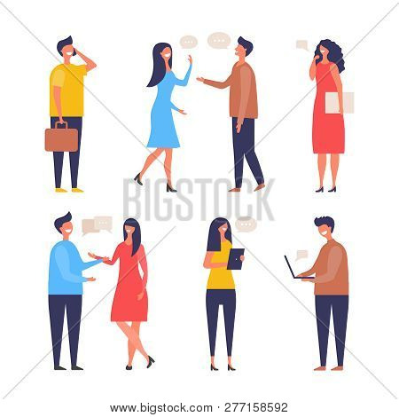 Dialogue People. Communication Characters Web Chat Discuss Businessman Active Discussion Vector Flat