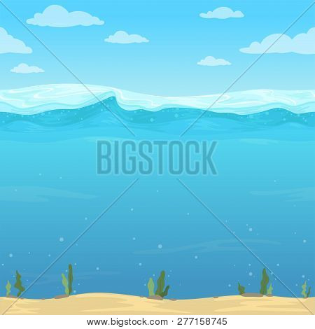 Water Waves Background. Seamless Liquid Pattern Sea Ocean River Cartoon Surface For 2d Vector Game.