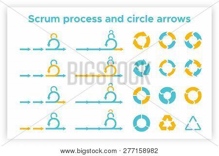 Scrum Info Graphic Diagram Element Vector Set Illustration. Agile Diagram, Recycle Symbol And Circle