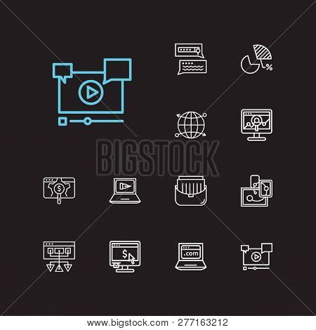 Seo Icons Set. Search Result And Seo Icons With Responsive Design, Sitemap And Cdn. Set Of Sale For