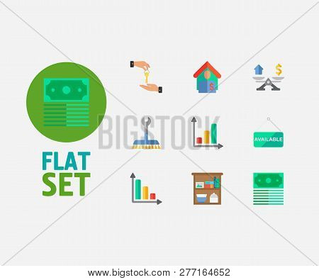 Building Icons Set. Tenant And Building Icons With Deal, Progress Down And Money. Set Of Structure F