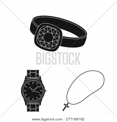 Isolated object of jewelery and necklace logo. Collection of jewelery and pendent stock symbol for web. poster