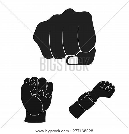 Isolated Object Of Fist And Punch Symbol. Set Of Fist And Hand Vector Icon For Stock.