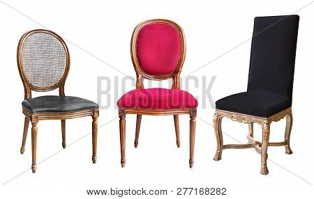 Three Gorgeous Vintage Chairs Isolated On White Background. Chairs With Black And Red Upholstery