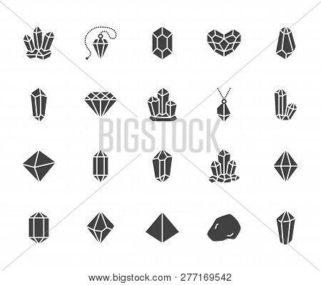 Crystals Flat Glyph Icons Set. Mineral Rock, Diamond Shape, Salt, Abstract Gemstone, Magic Crystal V
