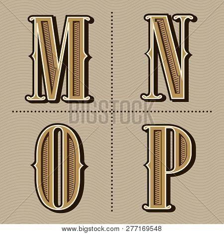 Western Alphabet Letters Vintage Design Vector (m, N, O, P)