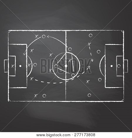 The Tactical Scheme Of Football Game Drawn With The Chalk On The Black Rubbed Chalkboard. The Soccer