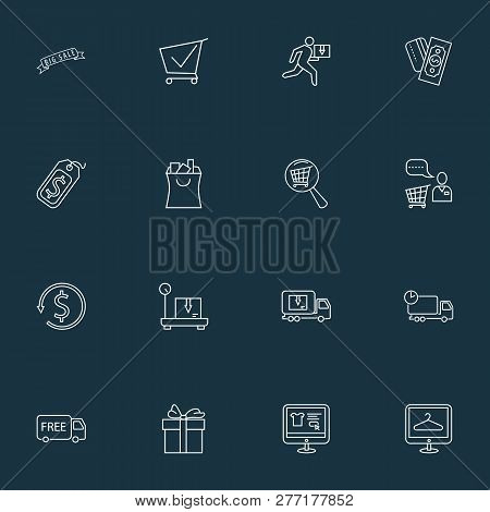 Ecommerce Icons Line Style Set With Shopping Assistant, Delivery Weighing, Delivery Truck And Other