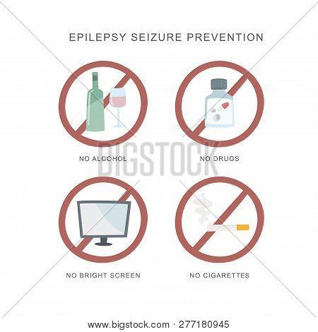 Epilepsy Seizure Pervention. Set Of Icons How To Avvoid Epilepsy Seizure.