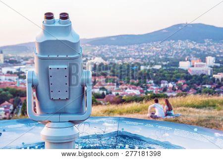 Sightseeing Tourist Telescope In Calvary, Nitra, Slovak Republic. Travel Destination. Relaxing Touri