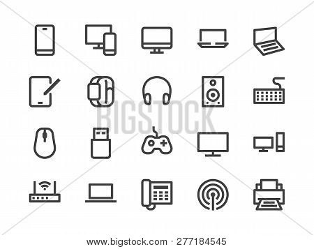 Electronics, Technology Store Line Icon. Vector Illustration Flat Style. Included Icons As Tv, Compu