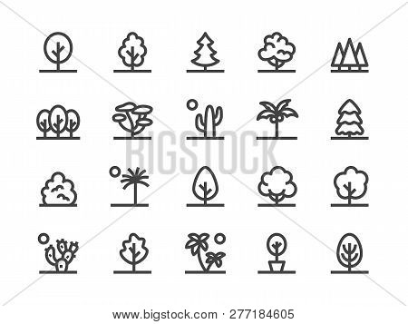 Trees, Plants Line Icon. Vector Illustration Flat Style. Included Icons As Fir Tree, Palm, Park, Des