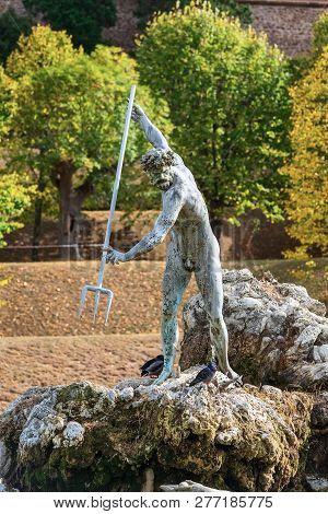 Florence, Italy - October 27, 2018: Statue Of Neptune Fountain Close-up View In Boboli Gardens Of Fl