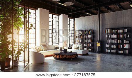 modern loft living room interior. 3d rendering design concept