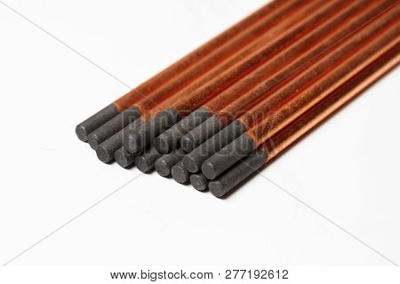 copper coated carbon electrodes for copper and bronze welding. on white background poster