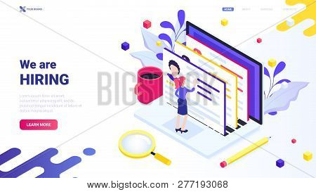 We Are Hiring Concept For Website, Landing, Page, Banner. Web Design Concept. Trendy Vector Isometri