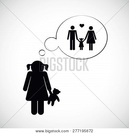 Orphan Girl Is Thinking About Her Family Vector Illustration