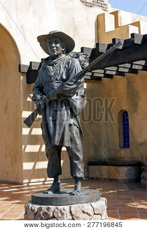 San Diego,ca,united States - April 23,2014:statue Of Soldier At Mormon Battalion Site Old Town In  S