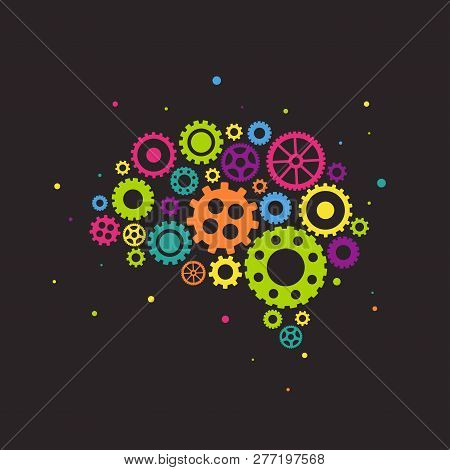 Bright Brain Made Of Colorful Gears And Wheels Icon Isolated On Black Background. Combination Of Pin