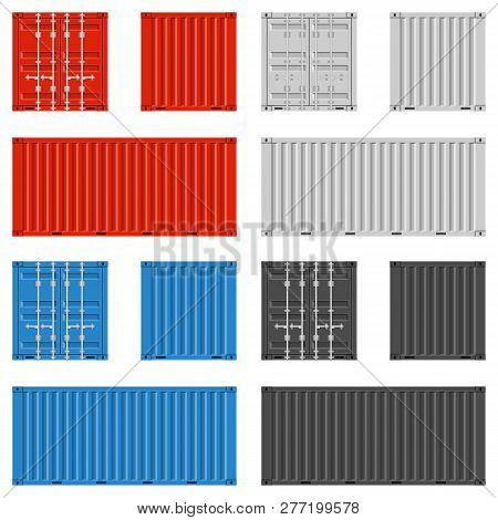 Cargo Container For Shipping In Flat Style. Red, Blue, White And Black Colors. Front, Back And Side