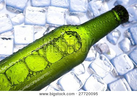Cold beer bottle poster