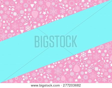 Pastel Colors Blue And Pink Christmas And New Year Background With Snowflakes, Light, Stars, Poster,