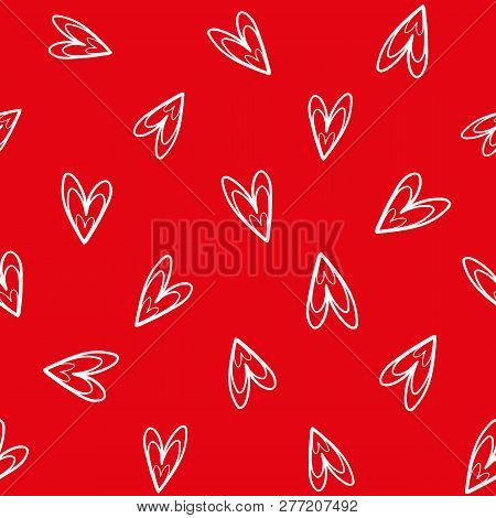 Fun White Hand Drawn Doodle Hearts On Vibrant Red Background As Seamless Vector Pattern. Great For V