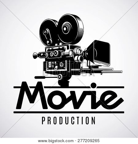Video Production Logo Design Template. Old Fashioned Movie Film Camera Black And White Vector Illust