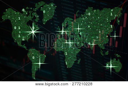 Green Global Map Of Binary Code With Zeros And Ones, Big Data And Financial Concept. Globalization