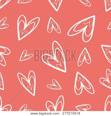 Quirky Hand Drawn Soft Cream Doodle Hearts On Coral Background As Seamless Vector Pattern Great For