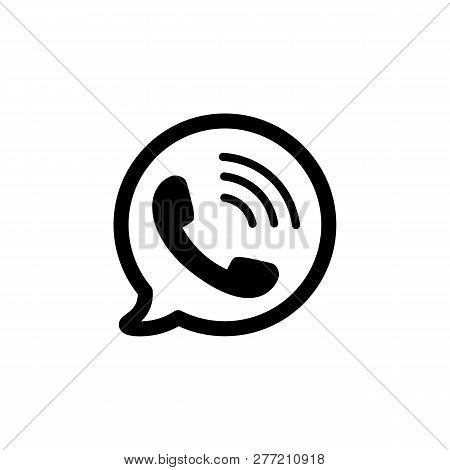 Telephone Icon. Black Phone Symbol In Bubble In Flat Style. Ringing Phone Sign Isolated On White Bac