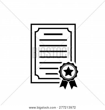 Vector Certificate Icon With Rosette And Stsr. Black Achievement Symbol In Flat Style Isolated On Wh
