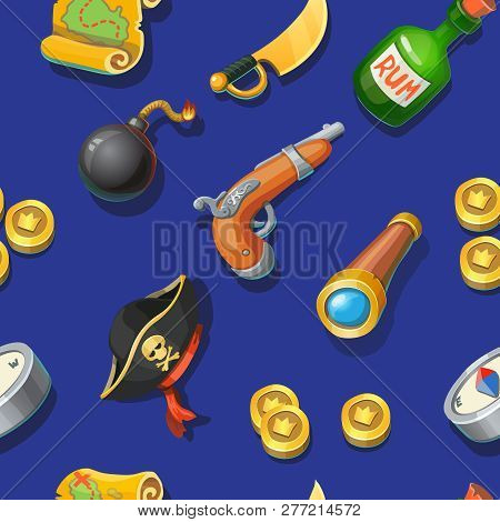 Pirates Cartoon Seamless Pattern. Adventure, Treasure, Pirates, Bomb And Rum, Spyglass, Compass, Gun
