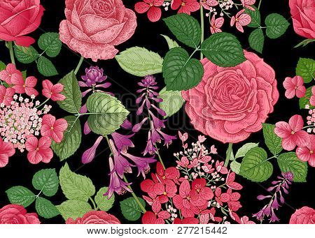 Field And Garden Flowers. Floral Seamless Pattern. Roses And Hydrangeas. Vector Illustration. Templa