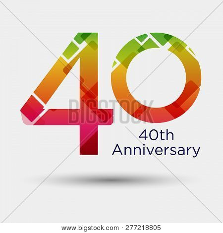 Logo Or Icon Anniversary With Colorful Modern Pattern. Flat Logo Concept. 40 Years Anniversary.