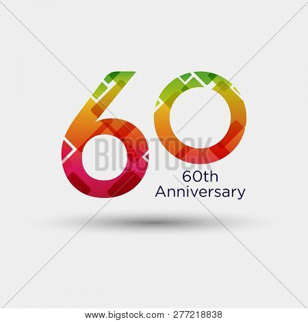Logo Or Icon Anniversary With Colorful Modern Pattern. Flat Logo Concept. 60 Years Anniversary.